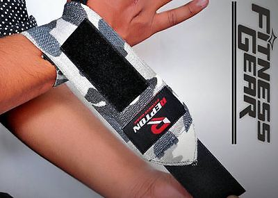 Power Weight Lifting Wrist Wraps REPTON Supports Gym Training Fist Straps CAMO18