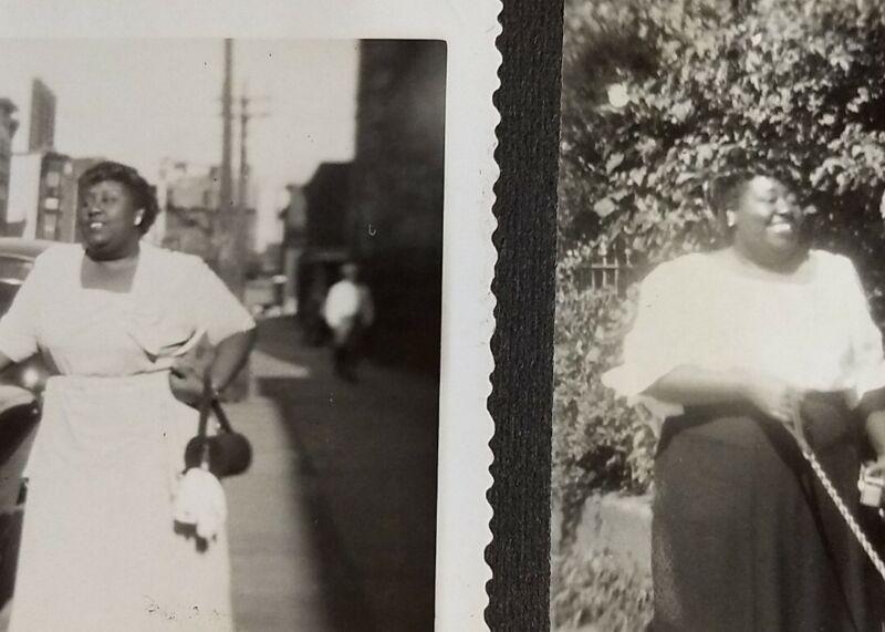 2 Photos Same Smiling Women Walking Dog & By Car 1940 African-American Vtg