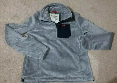 BNWT Abercrombie and Fitch fluffy grey fleece Jacket tophalf zip size XS