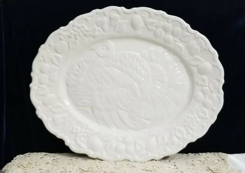 Large Ceramic Turkey Platter Made in Italy 18 by 15 inch, White