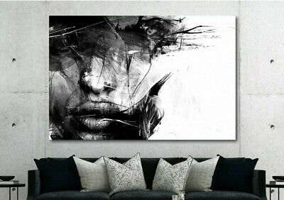 Abstract Black and White Female Face Canvas Wall Art Print