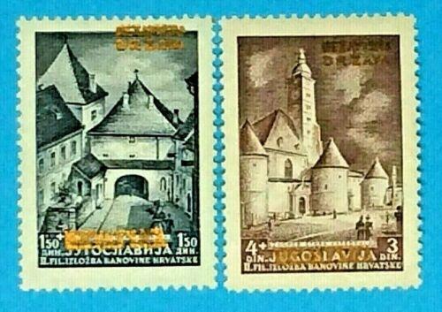 "1941 Croatia WW II NDH B1-2 ""Yugoslavia Gold Overprint"" Semi-Postal Mint Hinged"