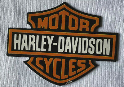 VINTAGE HARLEY DAVIDSON MOTOR CYCLE BADGE PORCELAIN SIGN CAR TRUCK OIL GAS
