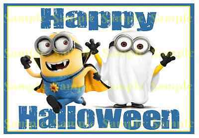 Minions Dispicable Me Halloween Ghost Vampire A5 Edible Icing Party Cake Toppers - Dispicable Me Party