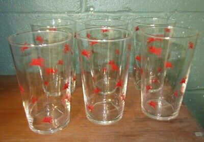 Set of 6 Vintage1950s MOBIL OIL Red PEGASUS Drink Glass Made by Libbey