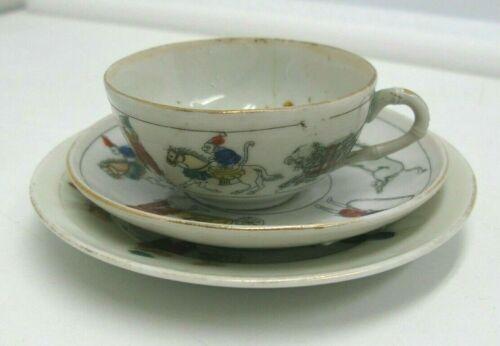 Antique Porcelain Child Cup Saucer Plate Circus Clowns Monkeys Dogs Japan a