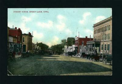 Spirit Lake Iowa IA c1910 Core Downtown, Hotel, Main St, Cash Store, Farm Wagons