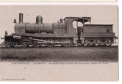 East Indian Railway Train Six Coupled Bogie Express Enginemens Shelter Postcard