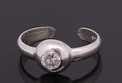 Adjustable Toe Ring Sterling Silver With Cubic Zirconia