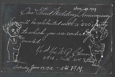 1912 PPC* A 3rd Wedding Anniversary Invitation Has Creases