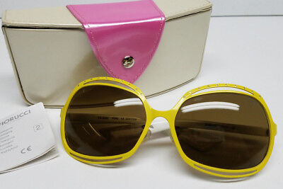 Genuine FIORUCCI Womens Big Sunglasses FS-8022 Yellow White w/ Hard Case >NEW<