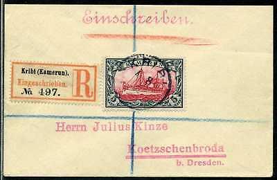 Kamerun Mi 19  Reko-Brief  Kribi  Koetschenbroda bei Dresden  1906