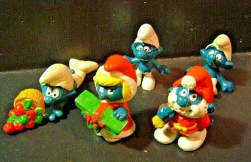 """5- SMURFS CHRISTMAS  Santa Claus """" Papa Smurf """" + Figures Toy PVC"""