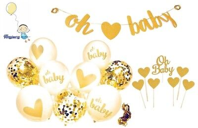 Gold Baby Shower (Baby Shower Decorations Gold Banner [Oh Baby] Confetti Gold White Balloons +)