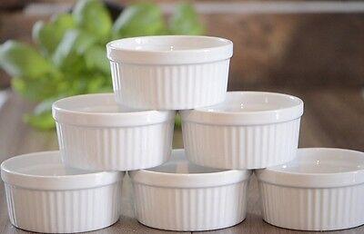 6 Stück Soufflé Souffle Förmchen Pastetenform Näpfchen - 7 cm Ø - Porzellan -