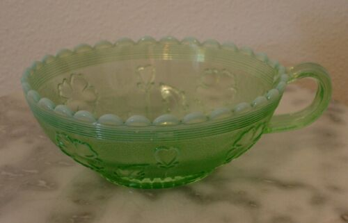 Northwood Blooms & Blossoms Green Opalescent Round Shaped Handled Olive