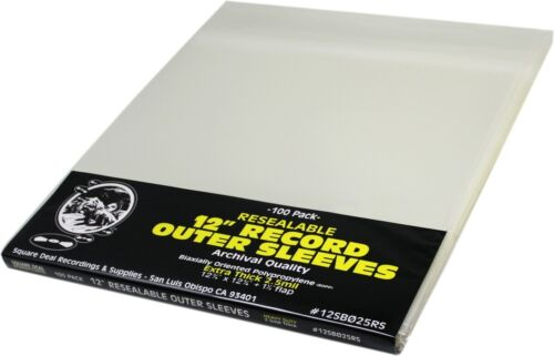 """(100) 12"""" Vinyl Record Outer Sleeves – EXTRA THICK 2.5 MIL RESEALABLE Archival"""
