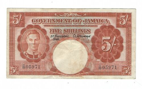 Jamaica - Five (5) Shillings 1940