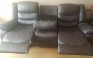 3 piece Leather sofa with wooden table n rug for sale