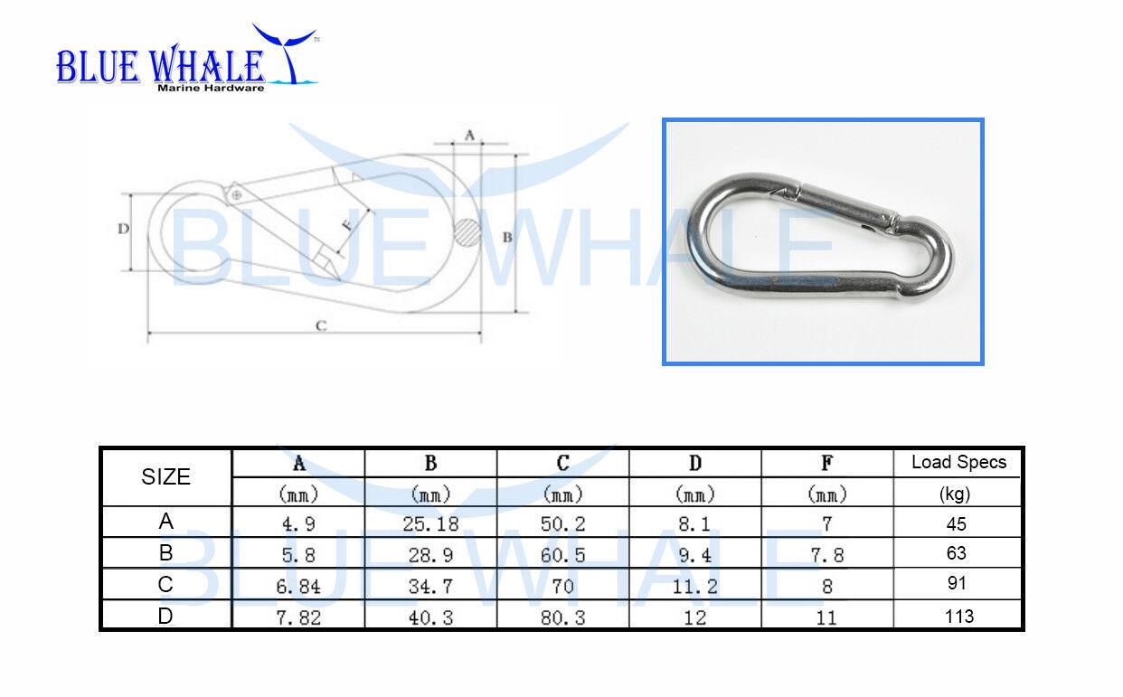5PCS 316 S.S. Carabiner Snap Hook A 2 USA BL31520594 - $39.86