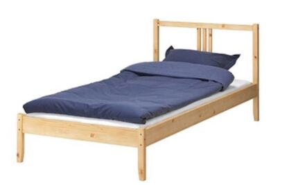 IKEA Fjellse Timber Bed Frame With Timber Slats   Single