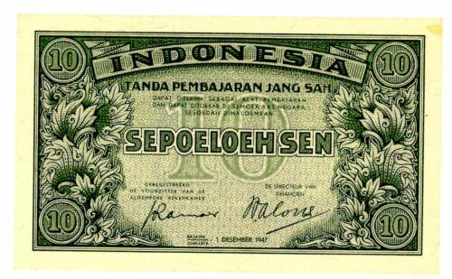 Indonesia  ... P-31 ...10 Sen ... 1947... *UNC*.