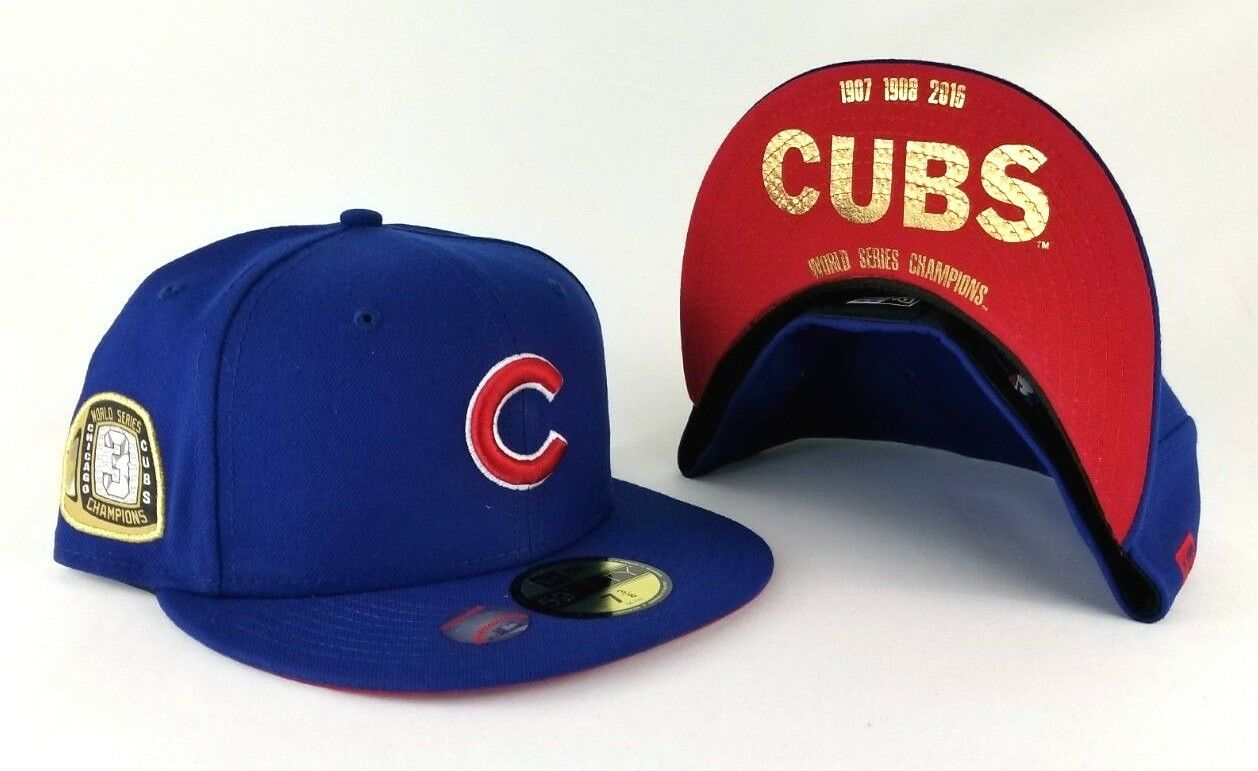 d02a927c388 New Era Chicago Cubs 3x Champions Ring Side patch Royal Blue 59Fifty Fitted  Hat