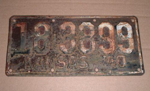 1940 Kansas License Plate 18-3899 Dickinson County Car Tag