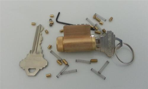 LOCKSMITH PRACTICE SCHLAGE LOCK WITH REMOVABLE PINS, NEW! ALL BRASS LOCKS