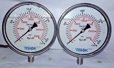 Lot Of 2 Pcs High Pressure Gauge Dual Scale 0-2000 Bar 0-30000 Psi Dual Color