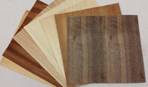 "Variety Pack Wood Veneer, Raw/Unbacked - Pack of 7 - 9"" x 9"" x 0.024"" Sheets"