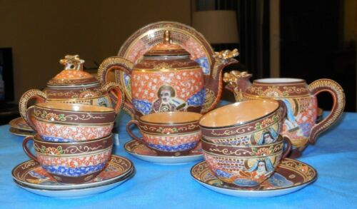 Vintage Hand Painted 20 piece Satsuma Moriage Dragon w/Geisha Porcelain Tea Set