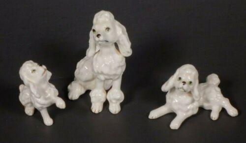 VINTAGE Shiken Japan White Poodles Green Eyes Bone China - Set of 3 - 1950