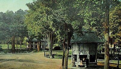 Spa Gazebo (C.1900-1910 Iron Spring, Ballston Spa, NY Trees Park Gazebo Postcard P90 )