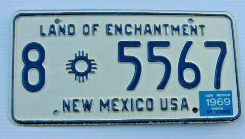 """MINT 1969 NEW MEXICO TRUCK LICENSE PLATE """" 8  5567 """" NM 68 GRANT CO  SILVER CITY"""