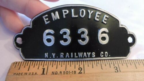 1930s? Defunct Antique New York Railways Co. NYC Employee Hat Badge Trolley
