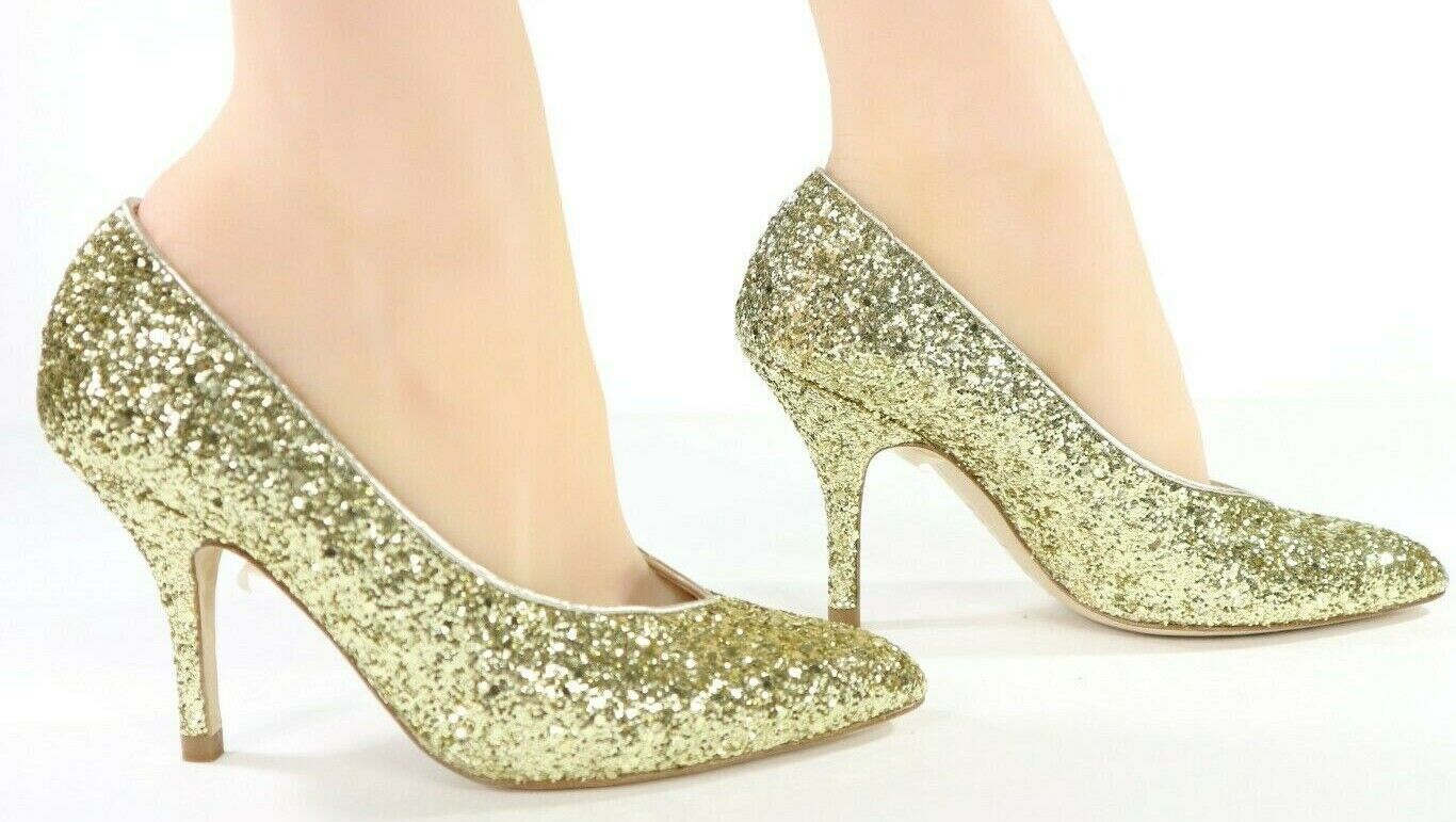 LK Bennett Robyn Gold Glitter Closed Court Shoes Heels MADE IN SPAIN