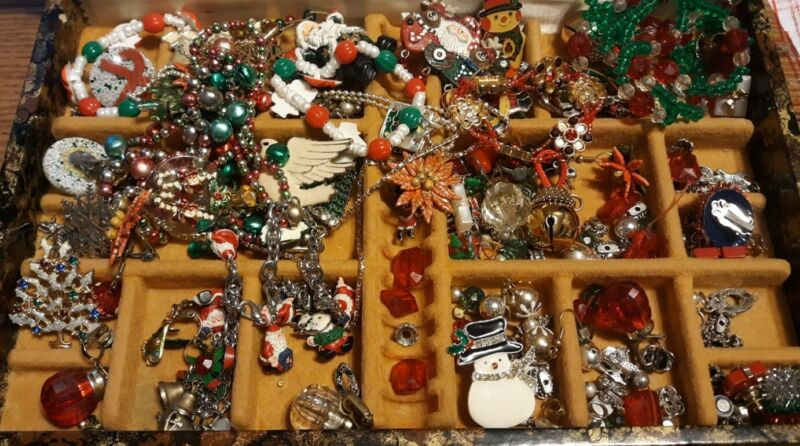 Vintage Christmas Tree Pins Brooches Earrings Necklaces Bracelets & More