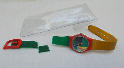 Vintage 1980's Multicoloured Swatch Watch No. 542 - Needs New Strap