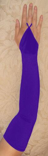 "23"" Purple Fingerless Stretch Satin Bridal Halloween Party Costume Opera Gloves"