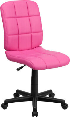 Armless Quilted Vinyl Home Office Desk Dorm Task Pink Purple Chairs 6 Colors
