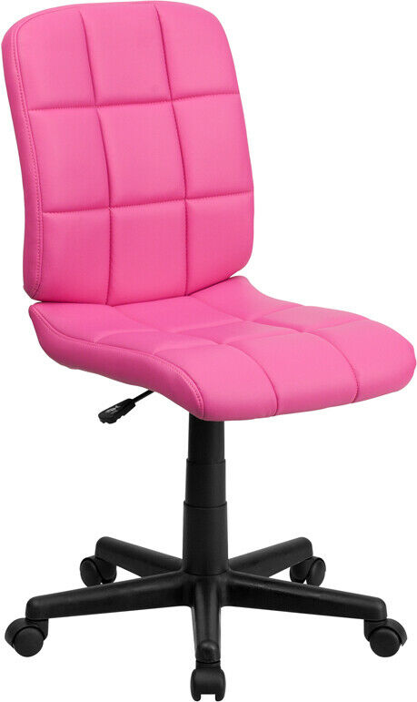 Armless Quilted Vinyl Home Office Desk Dorm Task Pink Purple