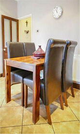 sheesham wood table and 4 chairs