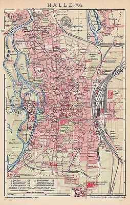 HALLE an der Saale Galgenberg Kröllwitz Trotha STADTPLAN von 1906
