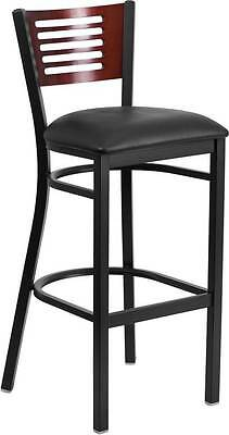 Lot Of 6 Black Decorative Slat Back Metal Restaurant Barstool-mahogany Back