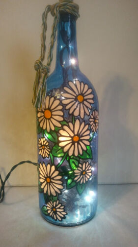 Pretty Daisies Bottle Lamp Stained Glass look