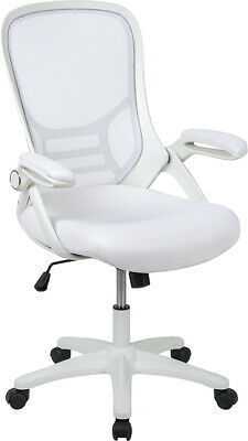 High Back White Mesh Ergonomic Swivel Office Chair W White Frame Flip-up Arms