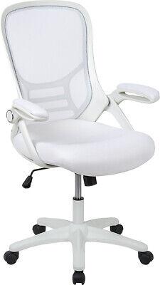 High Back White Mesh Ergonomic Swivel Office Chair W White Frame Flip-up Arms