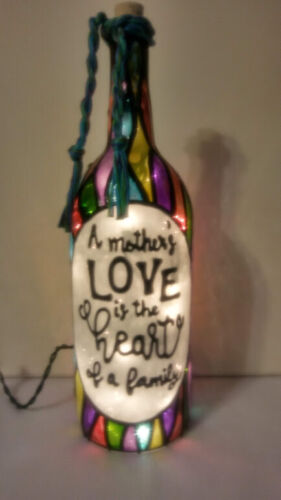 A Mothers Love is the Heart of a Family Bottle Lamp Bottle Light Handpainted