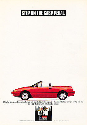 1991 Mercury Ford Capri Convertible - Classic Vintage Advertisement Ad H06